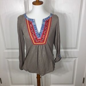 Meadow Rue V Neck Embroidered Tab Sleeve Top